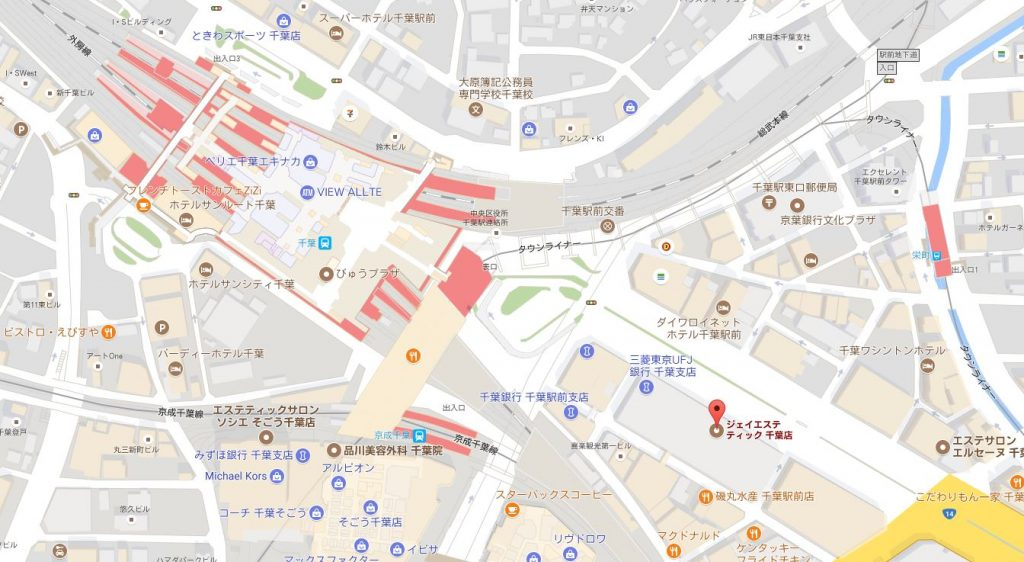 千葉県のジェイエステティックはどんなサロン?主婦におすすめ 千葉店の地図