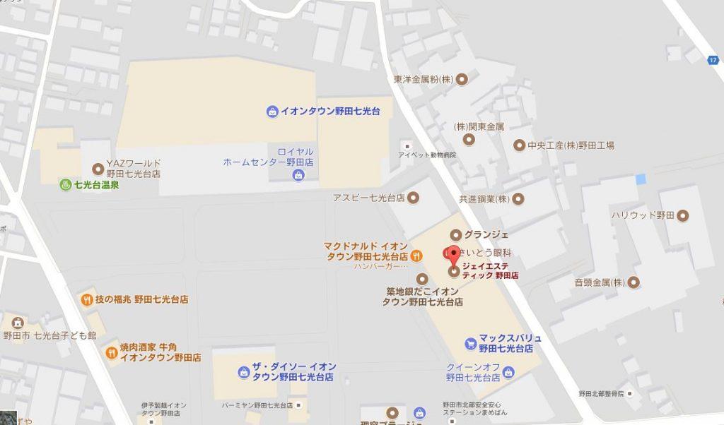 千葉県のジェイエステティックはどんなサロン?主婦におすすめ 野田店の地図