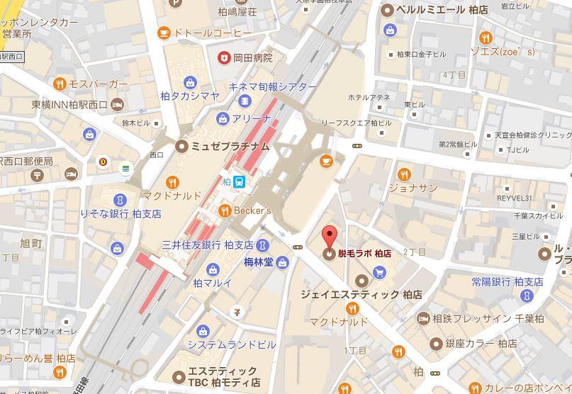 千葉県の脱毛ラボの詳細 柏店の詳細地図