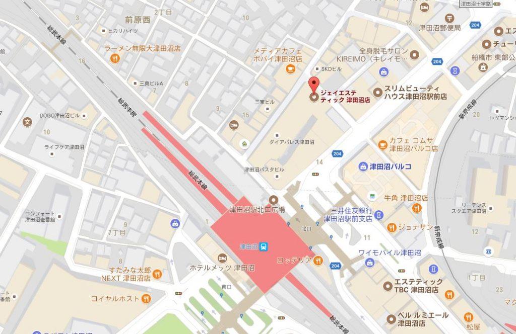 千葉県のジェイエステティックはどんなサロン?主婦におすすめ 津田沼店の地図