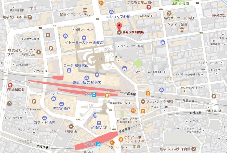 千葉県の脱毛ラボの詳細 船橋店の詳細地図