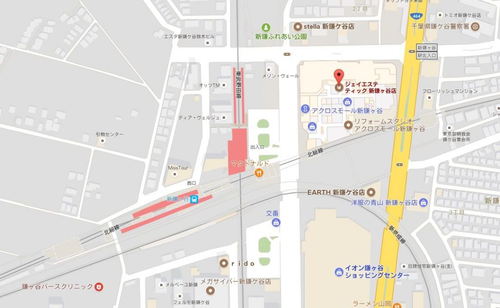 千葉県のジェイエステティックはどんなサロン?主婦におすすめ 新鎌ヶ谷店の地図