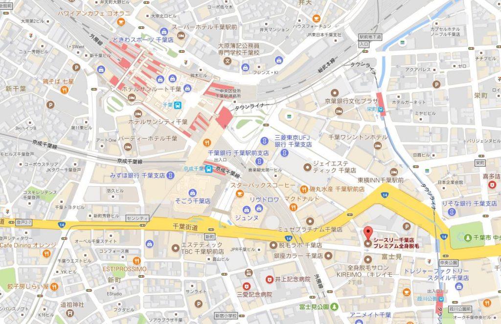 千葉県でおすすめのシースリー 口コミ・評判は?働くママ兼業主婦におすすめの脱毛サロン 千葉店の地図