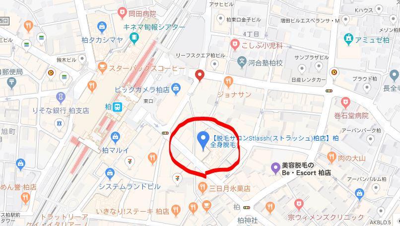 ストラッシュ柏店の地図