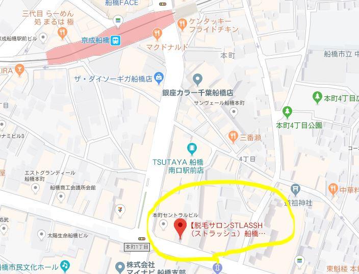 ストラッシュ 船橋南口店の地図